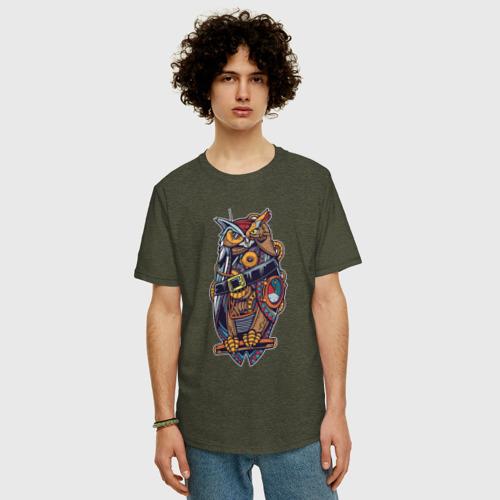 Мужская футболка хлопок Oversize Сова в стиле Стимпанк Фото 01
