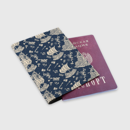 Обложка для паспорта матовая кожа Морской мир Фото 01