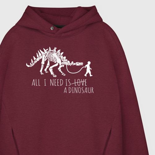 Мужское худи Oversize хлопок All a need is dinosaur Фото 01