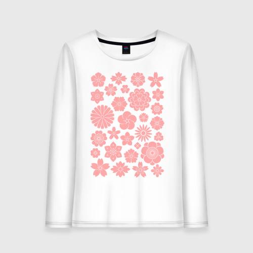 Женский лонгслив хлопок Цветочный узор Японские мотивы Фото 01