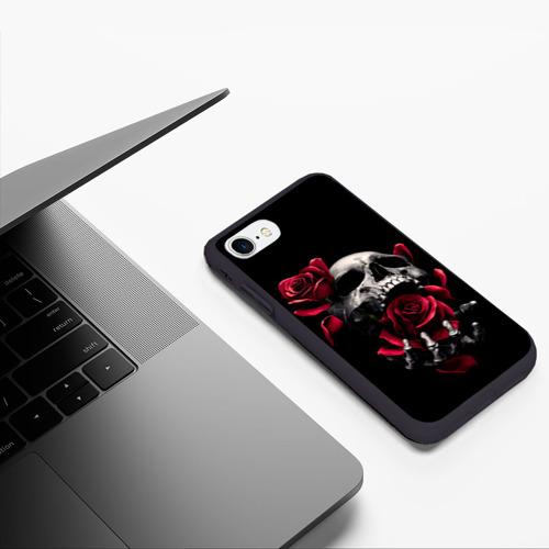 Чехол для iPhone 7/8 матовый ЧЕРЕП И РОЗЫ Фото 01