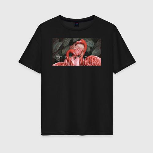 Женская футболка хлопок Oversize flamingos Фото 01