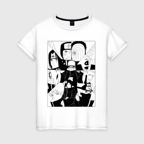 Женская футболка хлопок КЛАН АКАЦУКИ / AKATSUKI CLAN Фото 01