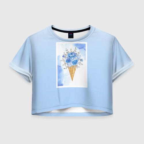 Женская футболка Crop-top 3D Цветочный холодок Фото 01