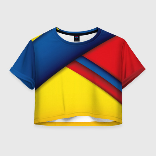 Женская футболка Crop-top 3D Яркие краски Фото 01
