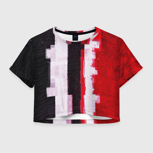 Женская футболка Crop-top 3D BLACK&RED Фото 01
