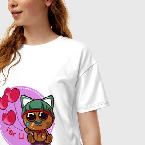 Женская футболка хлопок Oversize Котик милашка в шапочке Фото 01