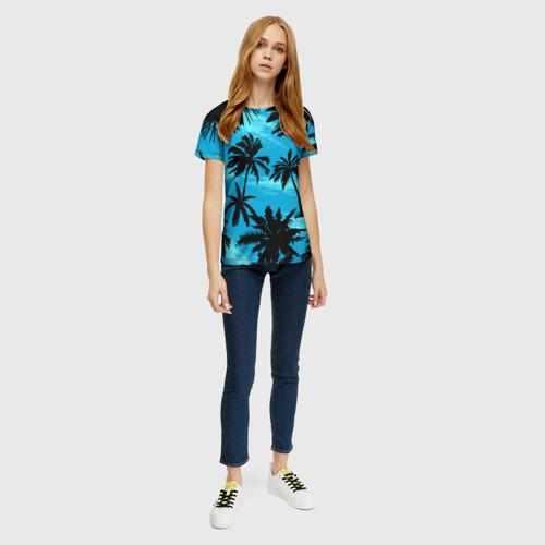 Женская футболка 3D Пальмы в Горизонте Фото 01