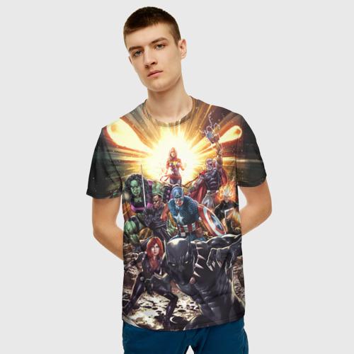 Мужская футболка 3D Мстители готовятся к битве Фото 01
