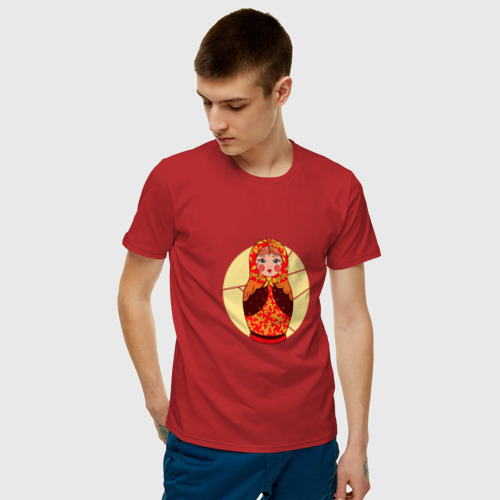Мужская футболка хлопок Матрёшка расписная с хохломой Фото 01
