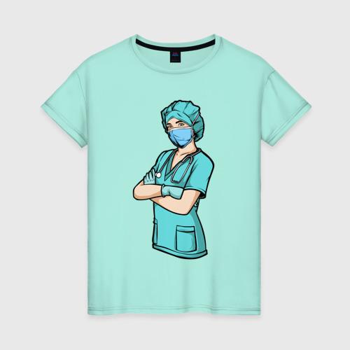 Женская футболка хлопок Медсестра   Медработник (Z) Фото 01
