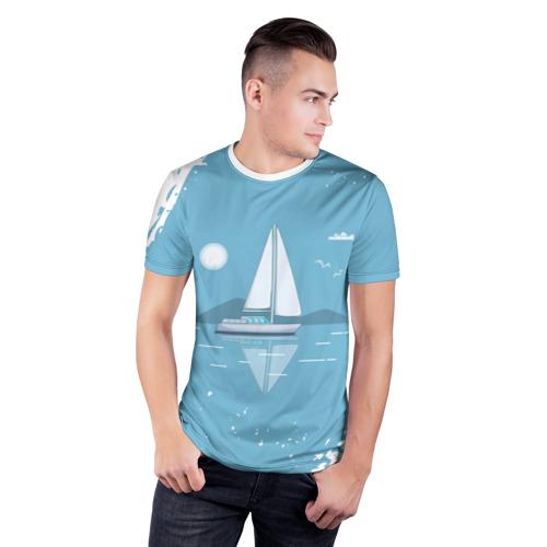 Мужская футболка 3D спортивная ОДИНОКИЙ ПАРУСНИК   SAILBOAT (Z) Фото 01
