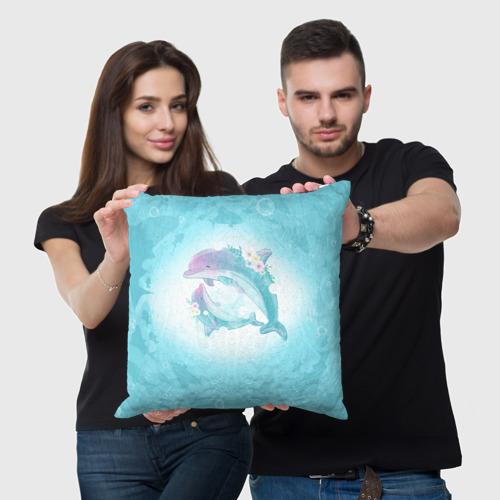 Подушка 3D Два дельфина Фото 01