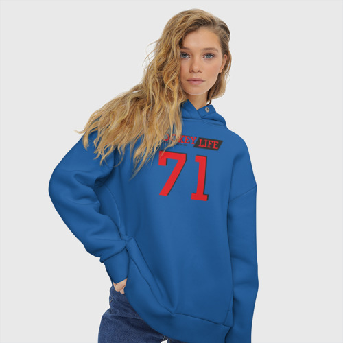 Женское худи Oversize хлопок Hockey life / Number series Фото 01