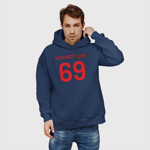 Мужское худи Oversize хлопок Hockey life / Number series Фото 01