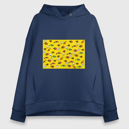 Женское худи Oversize хлопок Рыбки на жёлтом Фото 01