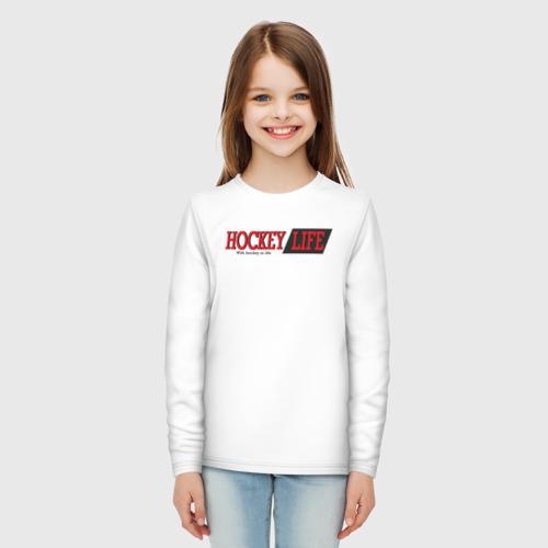 Детский лонгслив хлопок Hockey life / logo text Фото 01