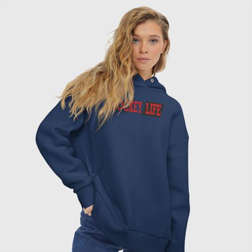 Женское худи Oversize хлопок Hockey life / logo text Фото 01