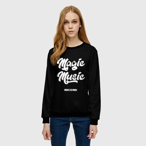 Женский свитшот 3D Magic Music Record   White on Black Фото 01