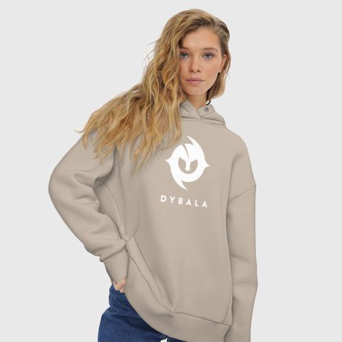 Женское худи Oversize хлопок Пауло Дибала белый логотип Фото 01
