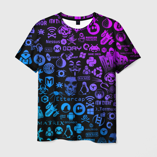 Мужская футболка 3D Hacker Logo Градиент Фото 01