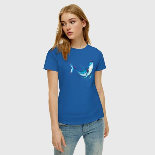Женская футболка хлопок Кит акварель Фото 01