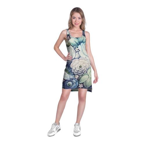 Платье-майка 3D Цветы на синем фоне Фото 01