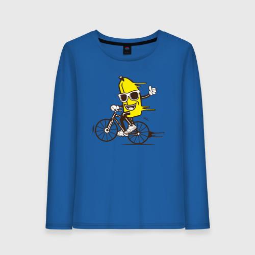 Женский лонгслив хлопок Банан на велосипеде Фото 01