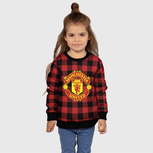 Детский свитшот 3D Манчестер Юнайтед фон в клетку Фото 01