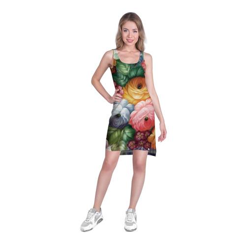 Платье-майка 3D Розы на белом Фото 01