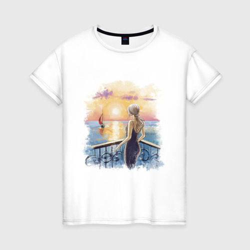 Женская футболка хлопок Девушка и море Фото 01